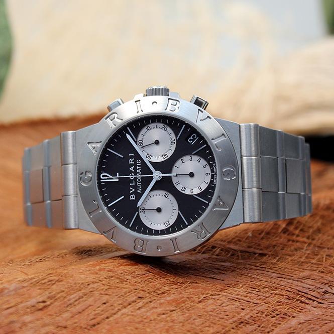 bulgari bvlgari diagono automatic chronograph herren armbanduhr ref ch35s ebay. Black Bedroom Furniture Sets. Home Design Ideas