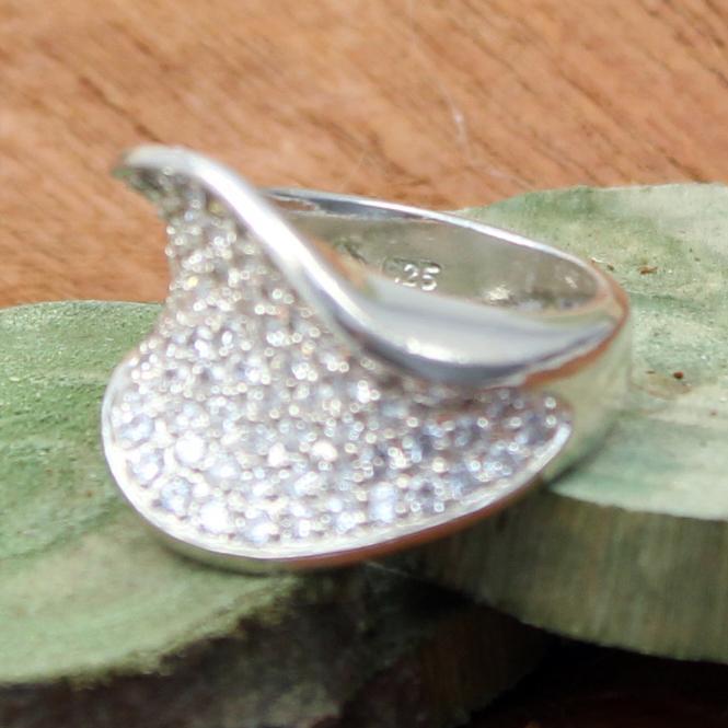 925 Silber Ring mit 35 Zirkonia besetzt