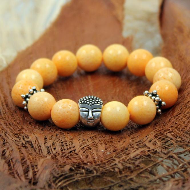JJJ LA Buddha Braclet Armband Koralle 12 mm Kugel