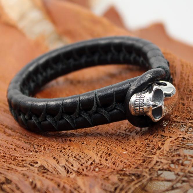 JJJ LA Silverskull Leather Braclet 230 mm