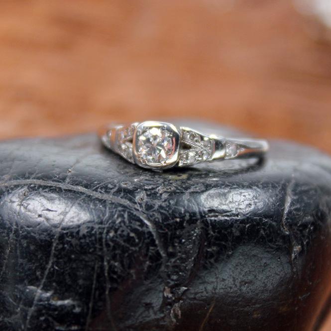 Antiker Platin Diamant Ring