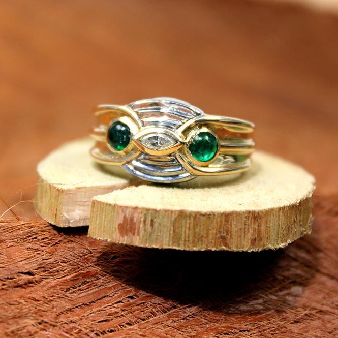 Smaragd Diamant Ring 750 Gelb- Weißgold