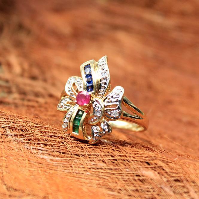 Rubin Smaragd Saphir Ring 585er