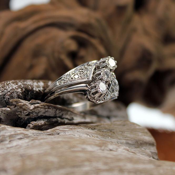 Art Deco Weißgold 585er Diamant Ring
