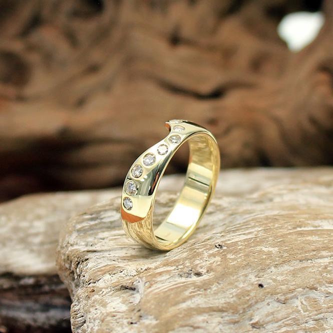 Gelbgold Vorsteckring 585er mit Diamanten