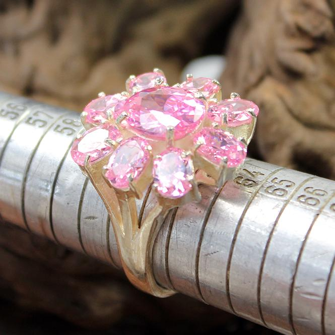 Damenring mit Rosa Farbsteinen  aus 925er Silber