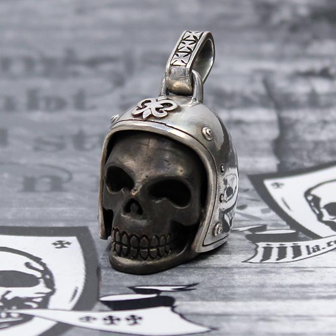 """JJJ LA """"Biker Skull"""" Anhänger Silber/Bronze black polished"""