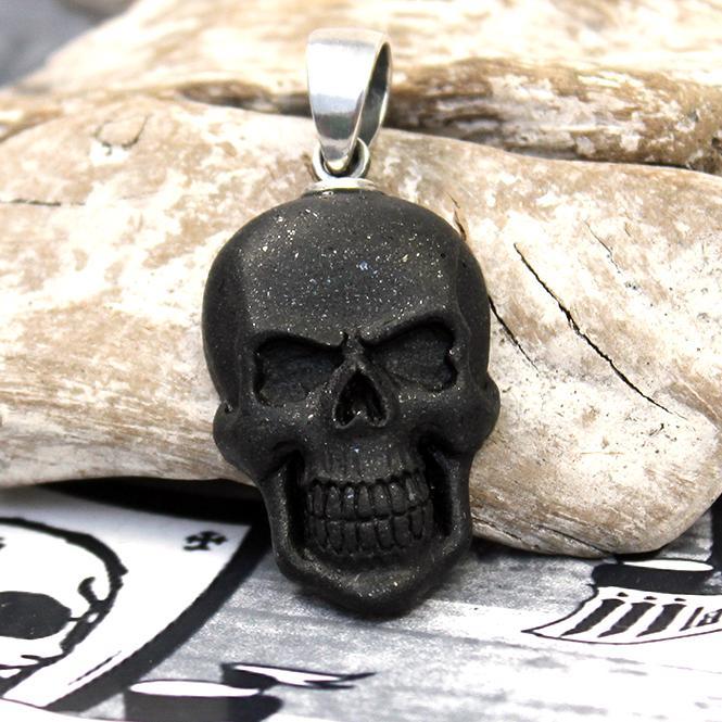"""JJJ LA Spinell Anhänger """"big black Skull"""" 925er Silber"""