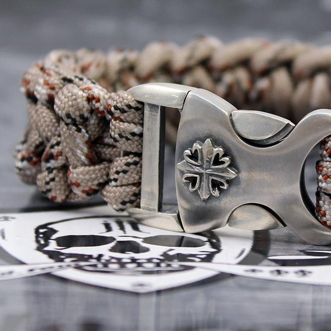 """JJJ LA Paracord Armband """"desert Cross"""" mit 925er Silberschließe Länge: 190 mm"""
