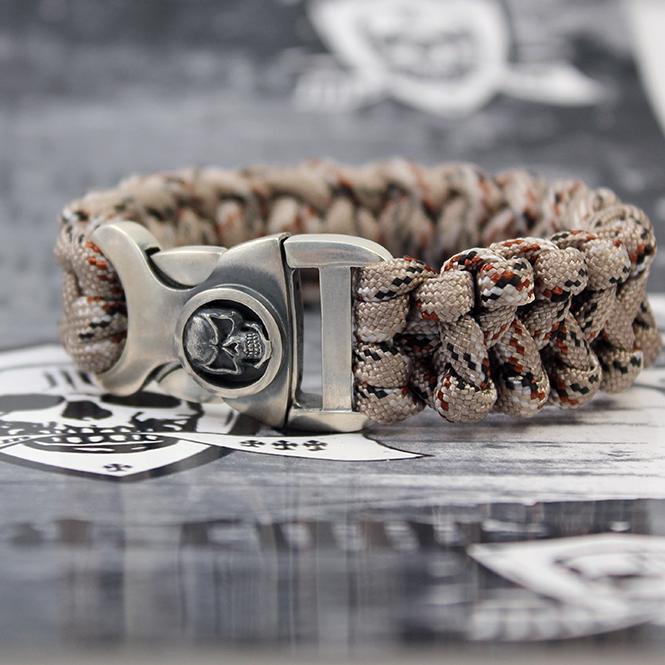 "JJJ LA Paracord Armband ""desert Skull"" mit 925er Silberschließe Länge: 190 mm"