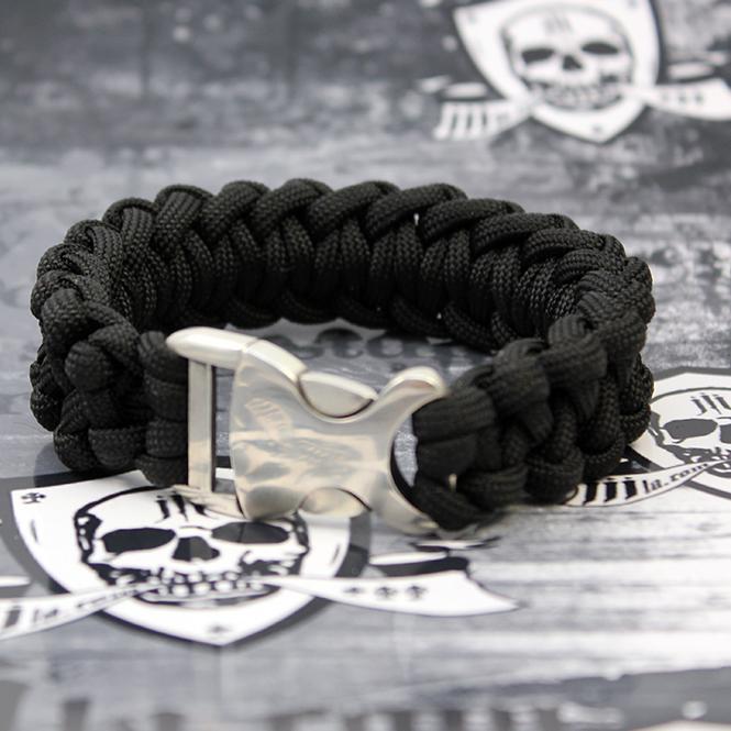 "JJJ LA Paracord Armband ""black"" mit 925er Silberschließe Länge: 210 mm"