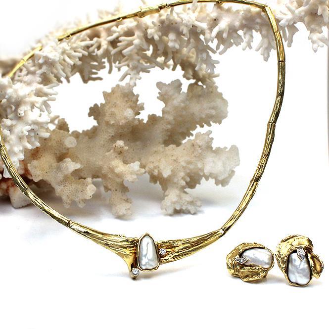 Perl- / Brillant-Schmuckset Collier mit Ohrclipsstecker 585er Gelbgold mit SWZ Perlen