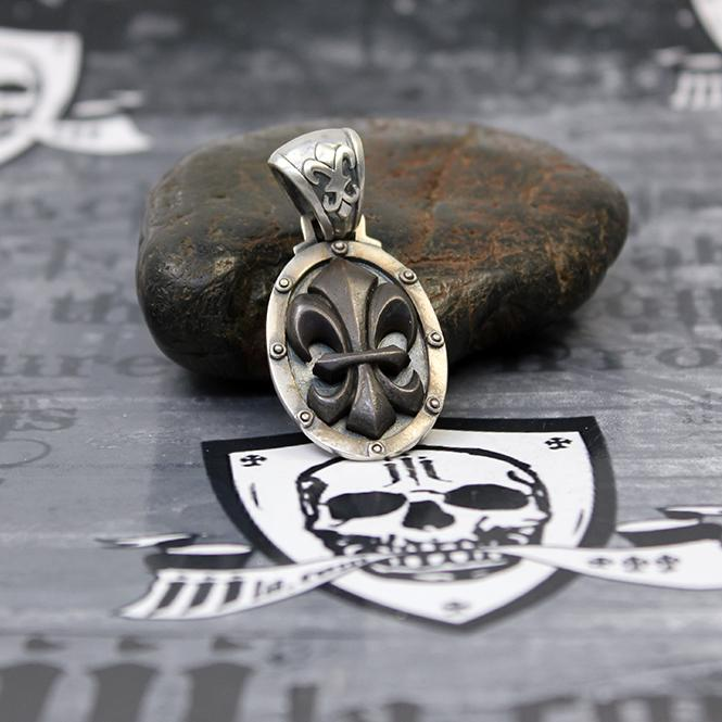 """JJJ LA Anhänger """"black Fleur de Lys"""" 925er Silber mit Bronze black polished"""