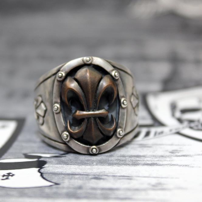 "JJJ LA Herren Ring ""black Fleur de Lys"" 925er Silber mit Bronze black polished GR 66"