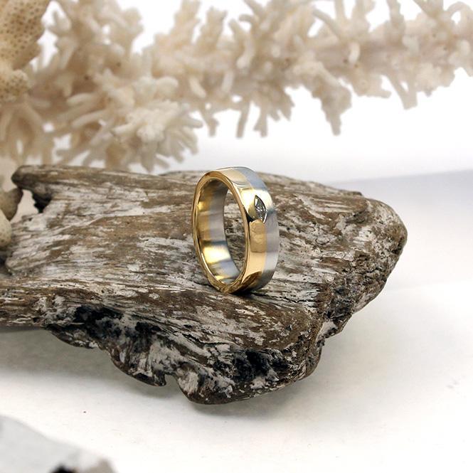 Bunz Platin/ Gelbgold Ring mit Diamant