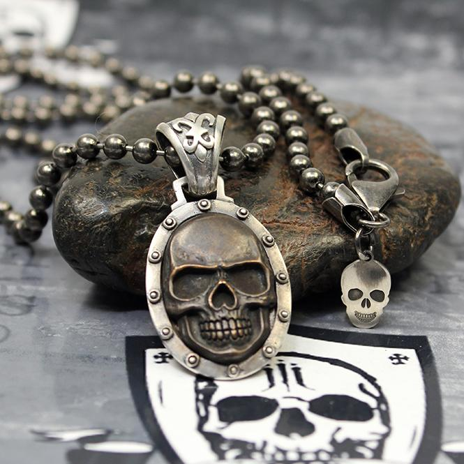 "JJJ LA ""black Skull"" Collier 925er Silber mit Bronze / 4 mm Kugelkette - 68 cm Länge"
