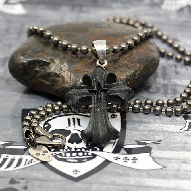 "JJJ LA ""BLACK BIG CROSS"" Collier 925er Silber / 4 mm Kugelkette - 59 cm Länge"