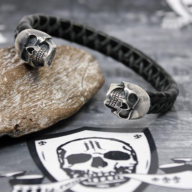 "JJJ LA Leder Armspange ""black Skull"" Armumfang 200 mm"