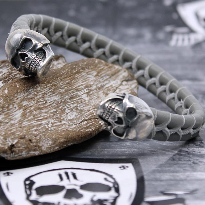 "JJJ LA Leder Armspange ""grey Skull"" Armumfang 200 mm"