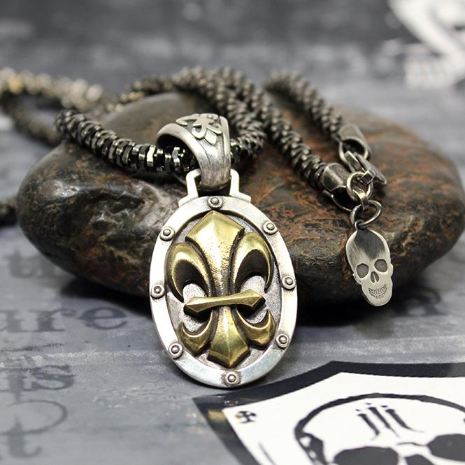 "JJJ LA  Collier ""Bronze Gold Fleur de Lys"" 925er Silber mit Bronze Gold polished"