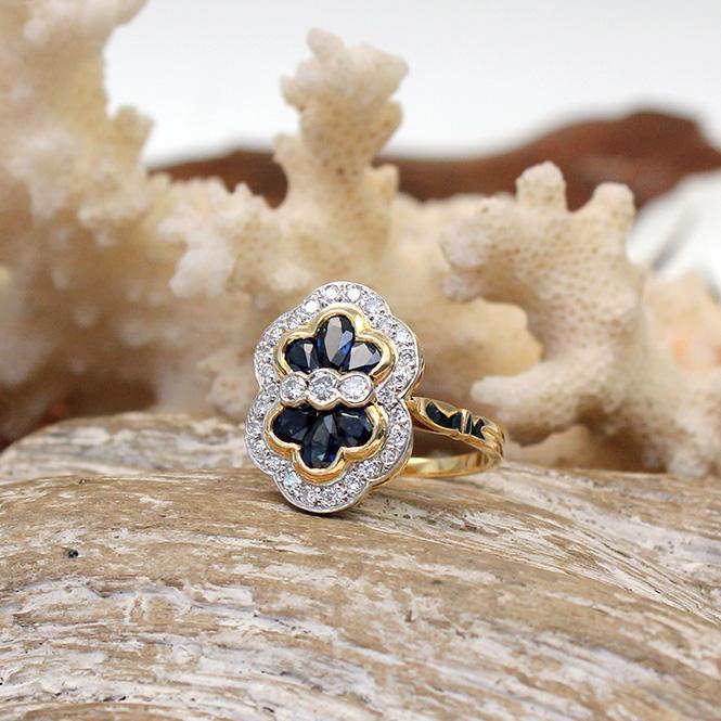 Saphir Brillant Ring aus 750er Gelbgold