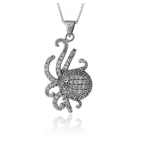 "925 Sterling Silber Anhänger ""Octopus"" Rhodium Platinierung Kubik Zirkonia"
