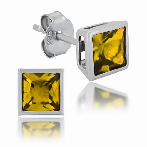 925er Sterling Silber Ohrstecker mit Rhodium Platinierung und goldenen Zirkonia Steinen.