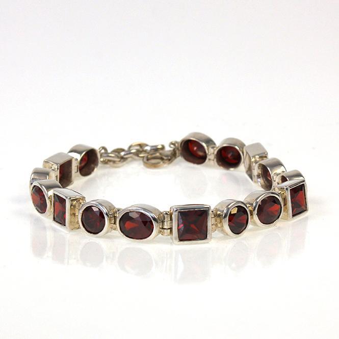 925er Sterling Silber Gliederarmband mit roten Zirkonia
