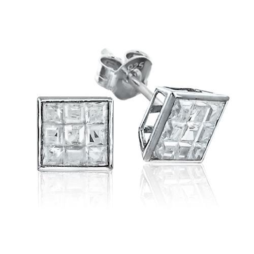 925er Sterling Silber Ohrstecker mit Rhodium Platinierung und table-cut Zirkonia Steinen