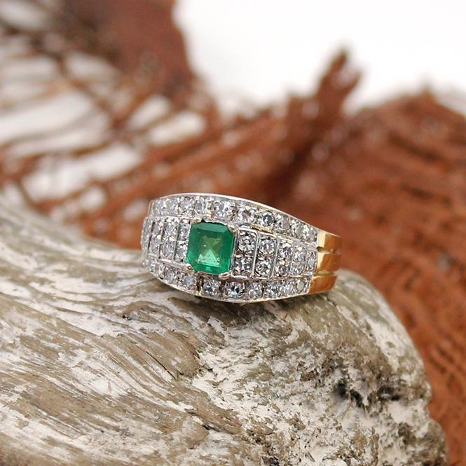 Gelbgold Diamant - Smaragd Ring 585er
