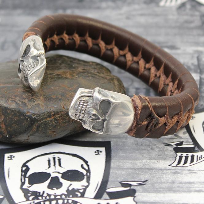 "JJJ LA Leder Armspange ""brown Skull"" 190 mm Armumfang"