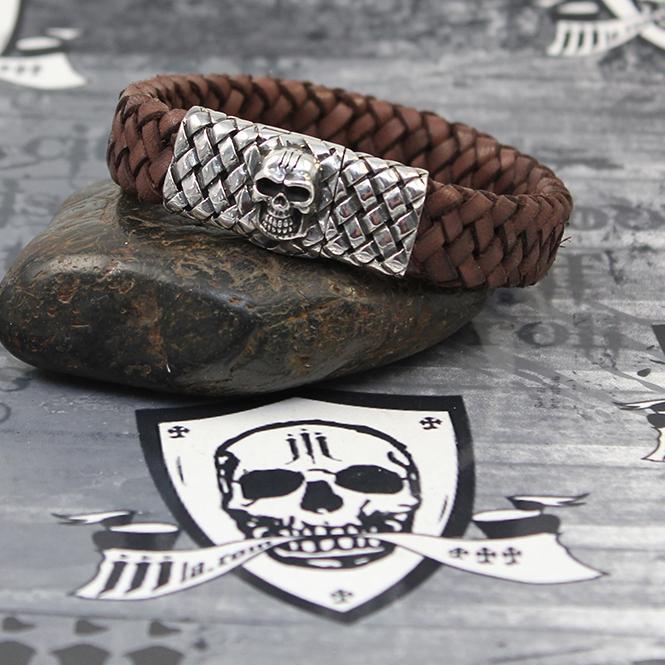 "JJJ LA braunes Lederarmband ""skull silver"" 925er Silberschließe mit Totenkopf Motiv"