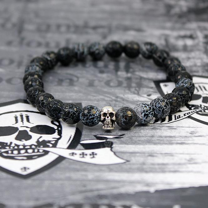 """JJJ LA Armband """"baked achat skull"""" Achatkugeln und Totenschädel aus 925er Silber 150 mm Armumfang"""