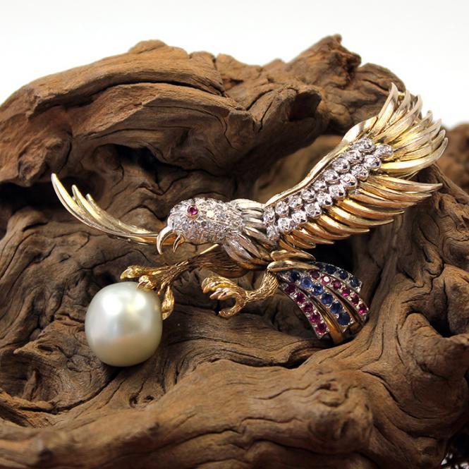 Weißkopfadler mit Diamant, Saphir, Rubin & Südsee Perle