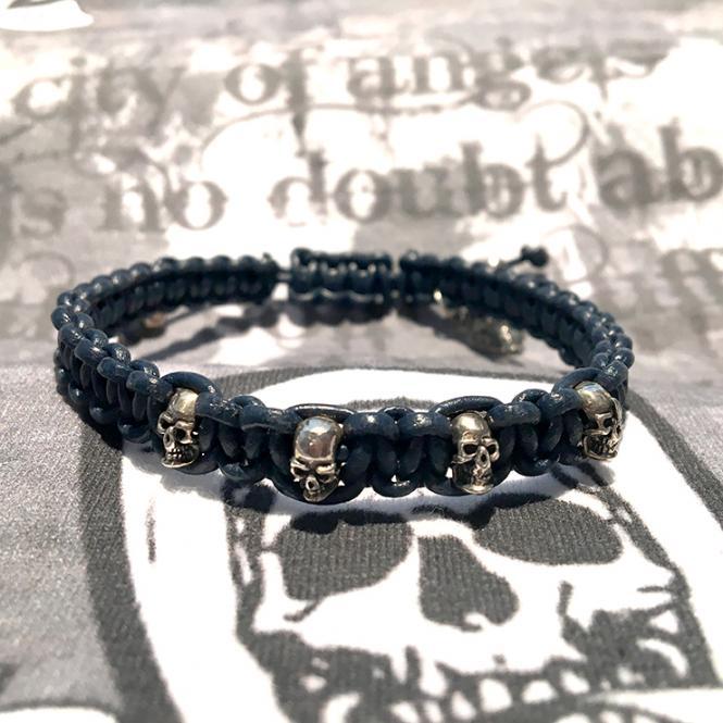 """JJJ LA Leder Zugband """"Skull"""" blau 170 mm"""