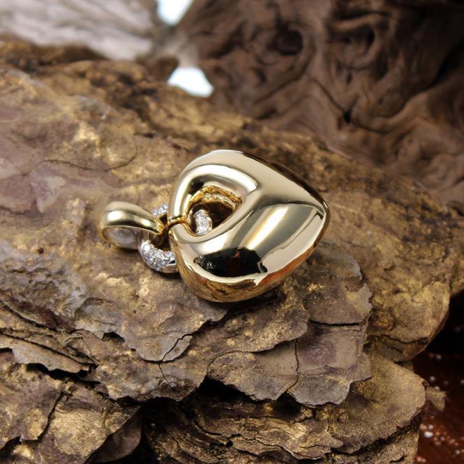 Großer Herzanhänger 750er Gelbgold mit Diamanten