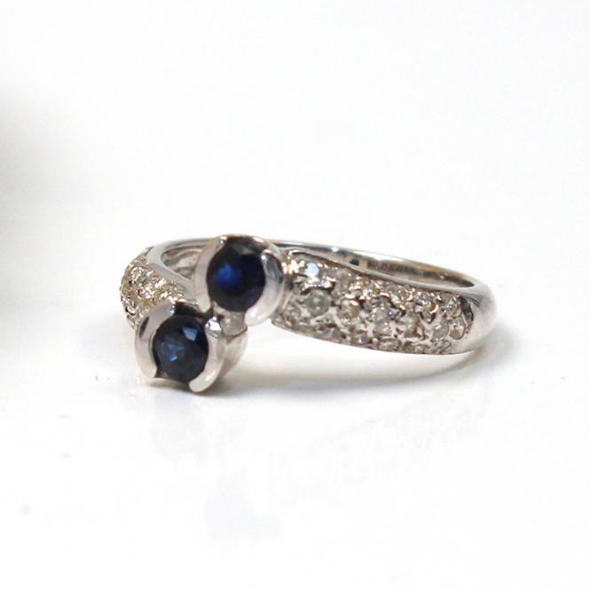 Brillant Saphir Ring 585er Weißgold GR 55