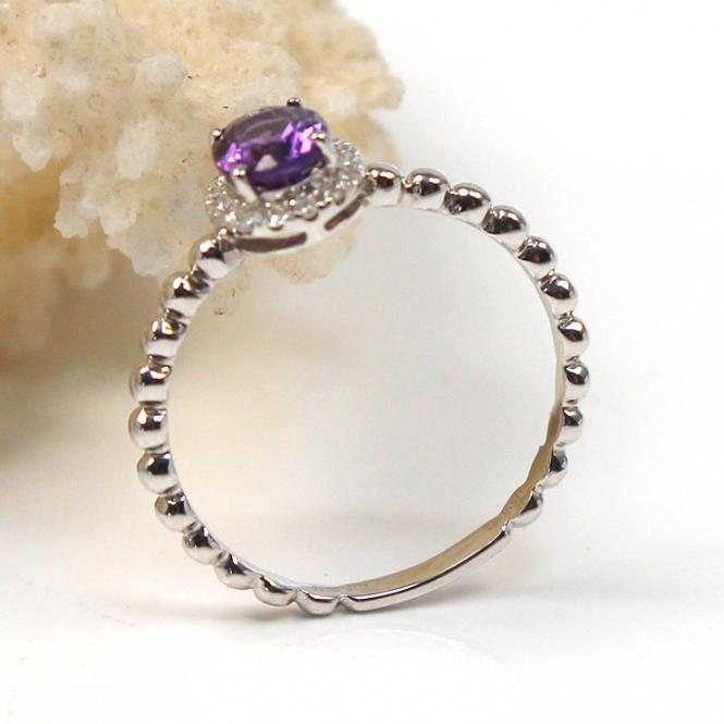 Brillant Amethyst Ring 750er Weißgold GR 55