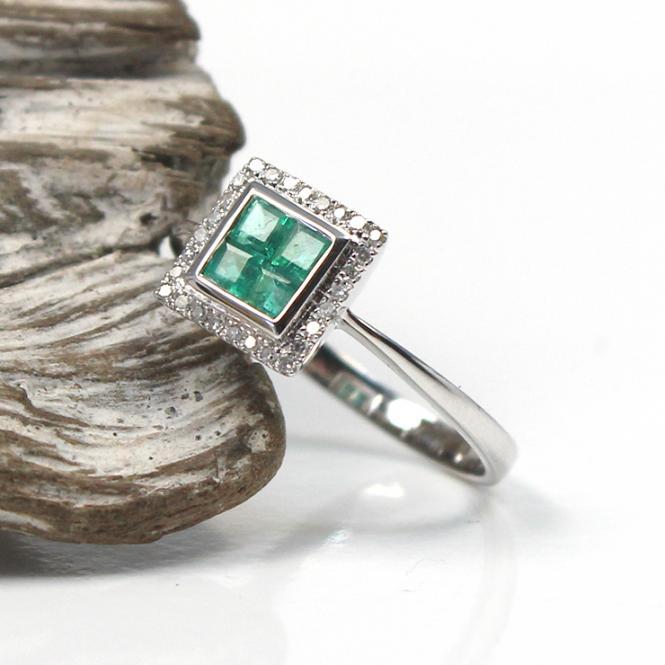 Diamant Smaragd Ring 585er Weißgold GR 53