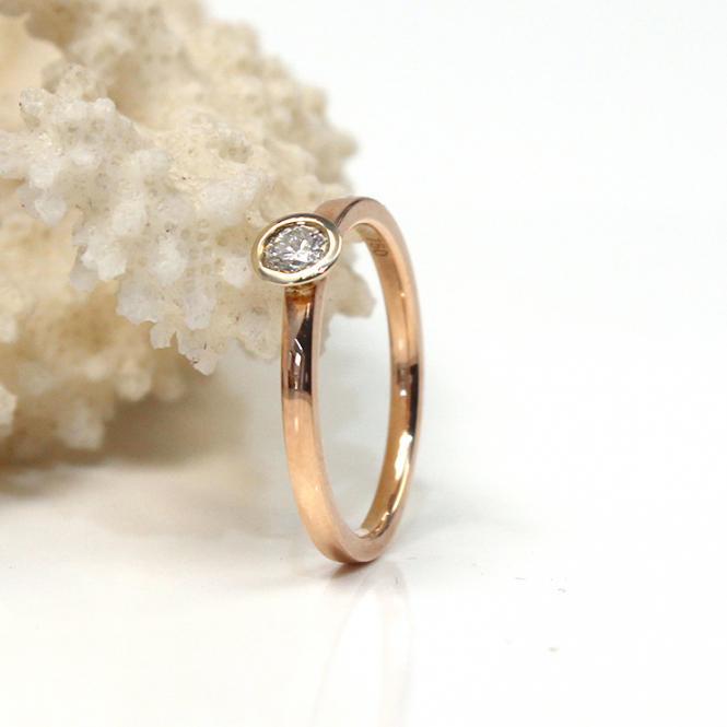 Brillant Ring 750er Roségold Weißgold Fassung GR 56