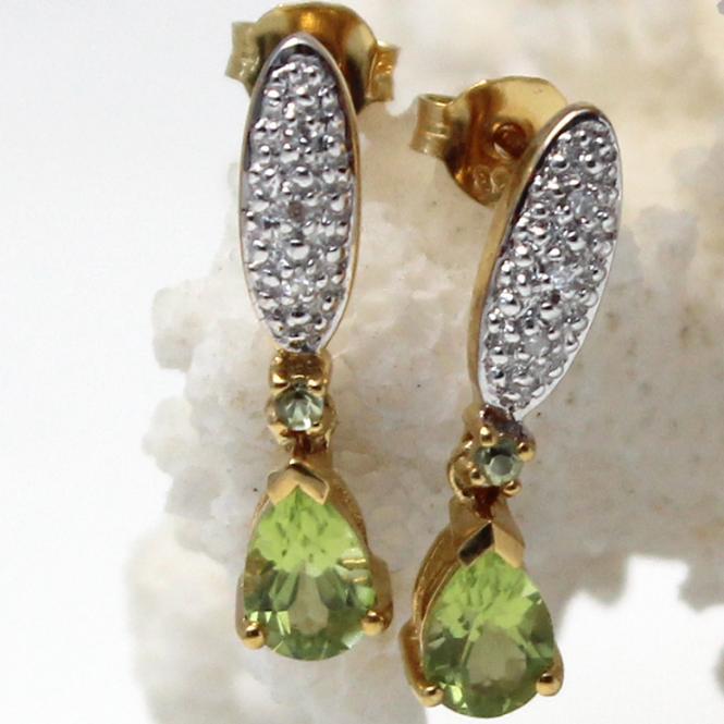 Diamant Peridot Ohrstecker 333er Gelbgold