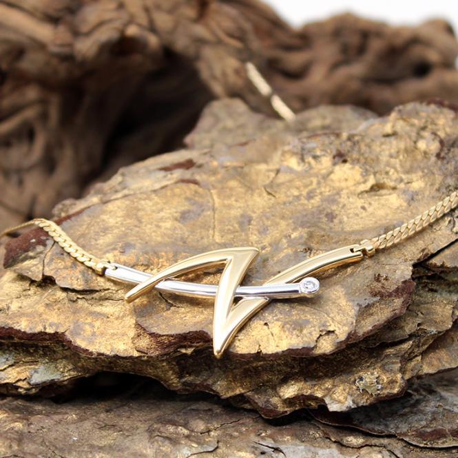Bi Color Collier mit Diamant 585er