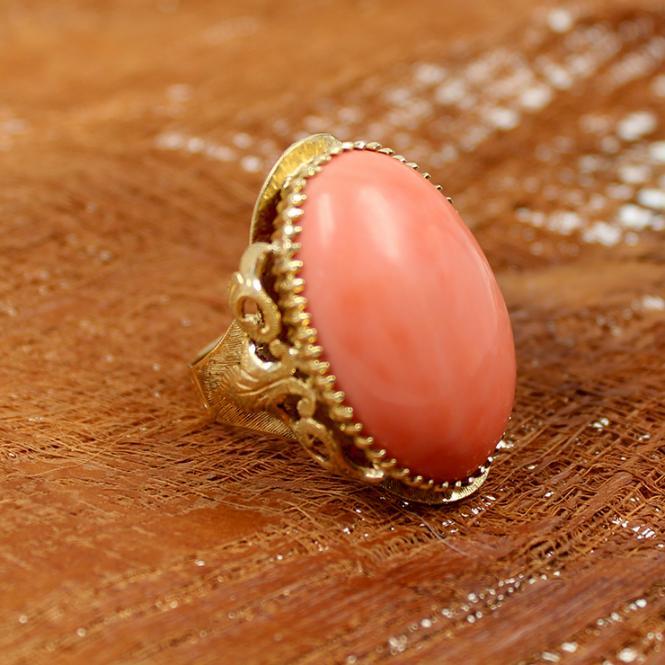 Korallen Ring (Engelshaut) 750 Gold
