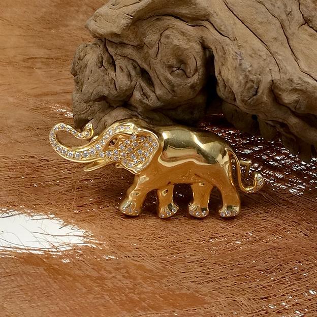 Elefanten Brosche 750 Gelbgold mit Diamant Besatz ca. 1 ct