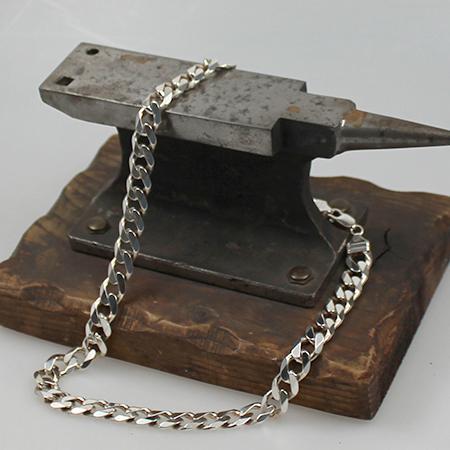 Flachpanzerkette 925 Sterling Silber