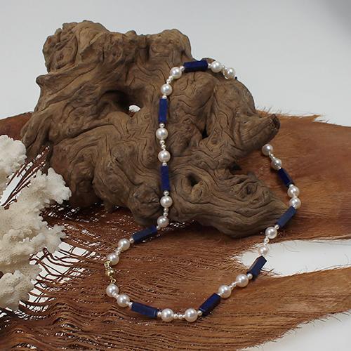 Perlenkette mit Lapis Lazuli Monturen und Kugelschließe in 585 Gold