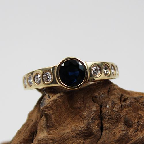 Saphir-Brillant Ring 585 Gelbgold