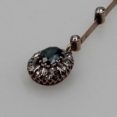 antiker Saphir-Diamant Anhänger in Rosègold um 1880