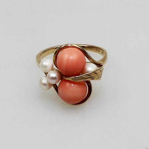 Korall,Perl Ring 585 Gelbgold