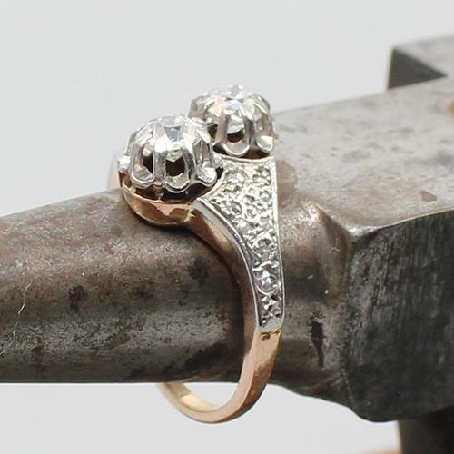 antiker Diamant Ring Rosègold/Weißgold